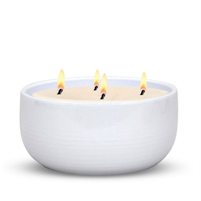 MONDIAL CANDLES: Alaska White Round Large Ceramic Candle 4 Wicks