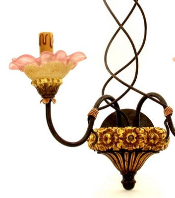 ALBA LAMP: Wall Sconce Light: Murano W Iron Hand Painted HC Wood