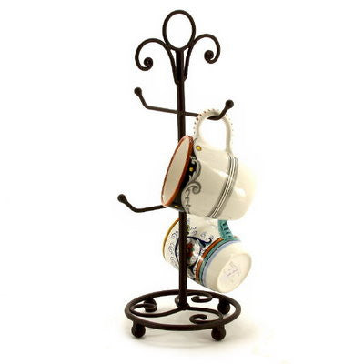 METAL STAND: Four Arms Mug Stand Tree Black w Brown Accent
