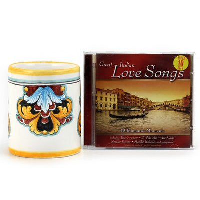 DERUTA VARIO ROSSO: The Love Mug with Heart Handle and Italian Love Songs CD