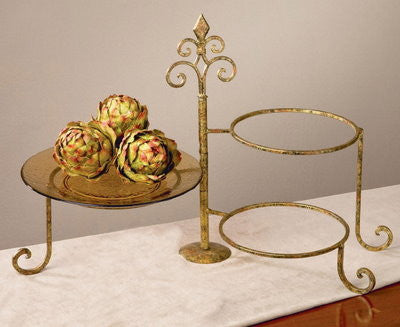 METAL STAND: Parisian Golden 3 Place Swivel Plate Stand
