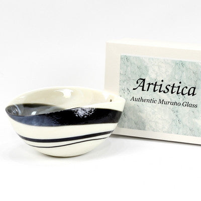 MURANO GLASS: Cartoccio oblong candy bowl IVORY and BLACK Swirl glass