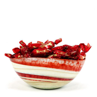 MURANO GLASS: Cartoccio oblong candy bowl RED Swirl on MARBLED IVORY glass