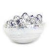 MURANO GLASS: Cartoccio oblong candy bowl WHITE Swirl on Pearlized glass