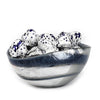 MURANO GLASS: Cartoccio oblong candy bowl GRAY Swirl on Pearlized glass