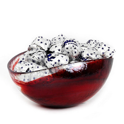 MURANO GLASS: Cartoccio oblong candy bowl RED Swirl on Pearlized glass