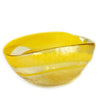 MURANO GLASS: Cartoccio oblong candy bowl YELLOW Swirl on Pearlized glass
