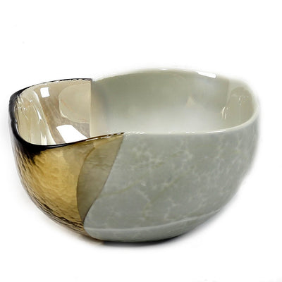 MURANO GLASS: Cartoccio square candy bowl SAND on Pearlized Clear Glass