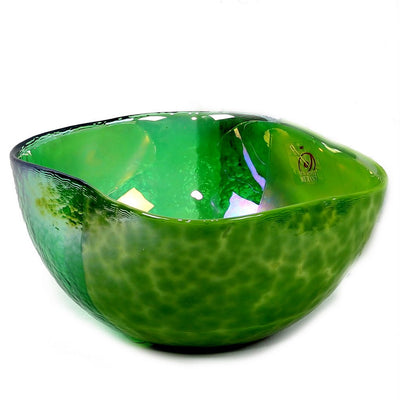 MURANO GLASS: Cartoccio square candy bowl GREEN on Pearlized Clear Glass
