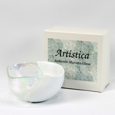 MURANO GLASS: Cartoccio square candy bowl WHITE on Pearlized Clear Glass
