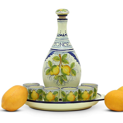LIMONCELLO: Limoncello Set with Blue trimmings (Bottle with stopper and Tray and 6 Shot Glasses)