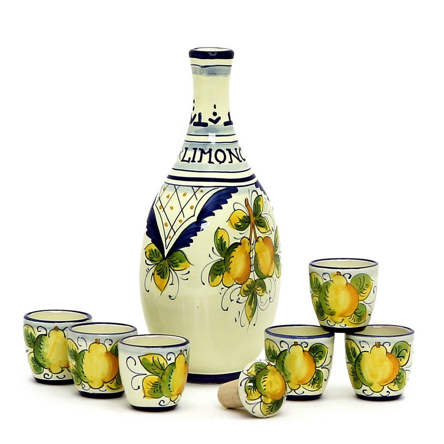 LIMONCELLO: Limoncello Set with Blue trimmings (Bottle with stopper and 6 Shot Glasses)
