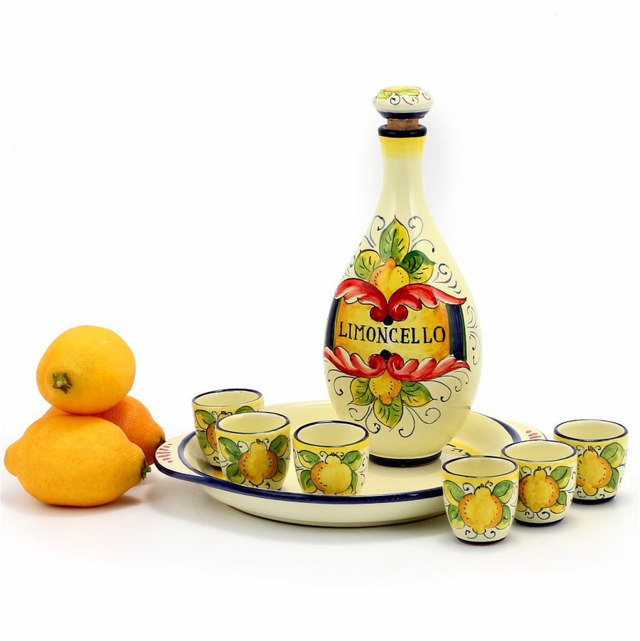 LIMONCELLO: Limoncello Set with Red scrollwork (Bottle and Stopper and Tray and 6 Shot Glasses)
