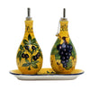 OLIVE FONDO GIALLO: Oil and Vinegar set on tray