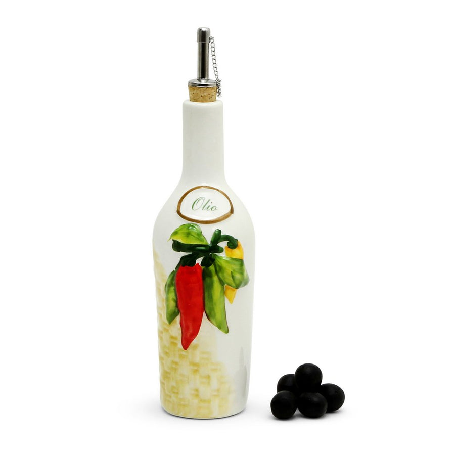 OLIVETO:  Olive Oil Bottle with bass-relief Peperoncino design