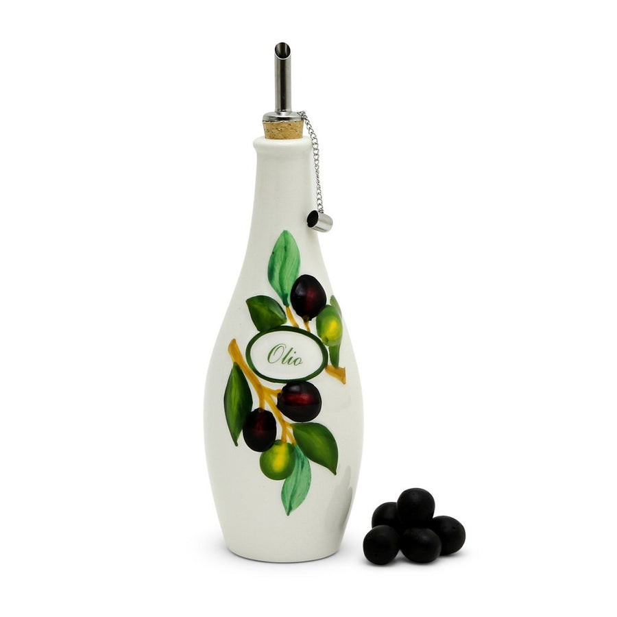 OLIVETO:  Olive Oil Bottle with bass-relief Olive design + Salad Servers Set