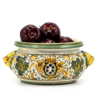 MAJOLICA CAFFAGIOLO: Round bowl centerpiece bowl with lion heads