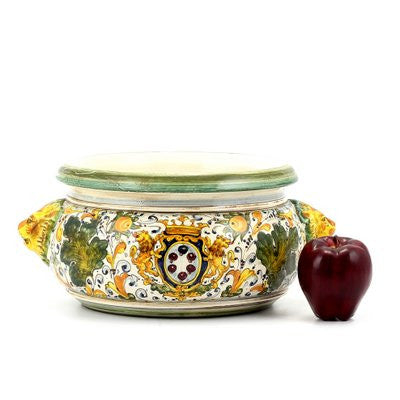 MAJOLICA CAFFAGIOLO: Round bowl centerpiece bowl with lion heads [R]