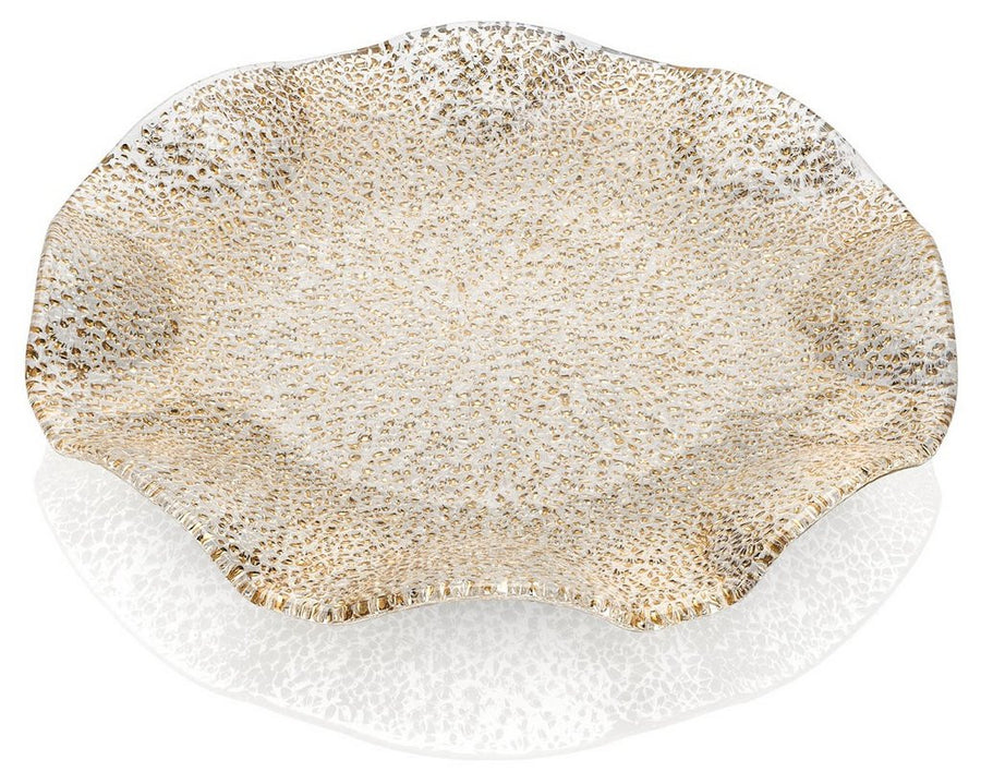 IVV GLASS: Special Scalloped Platter Gold Bubble