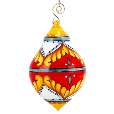 CHRISTMAS ORNAMENT: Red Pia Design Drop Ball Large