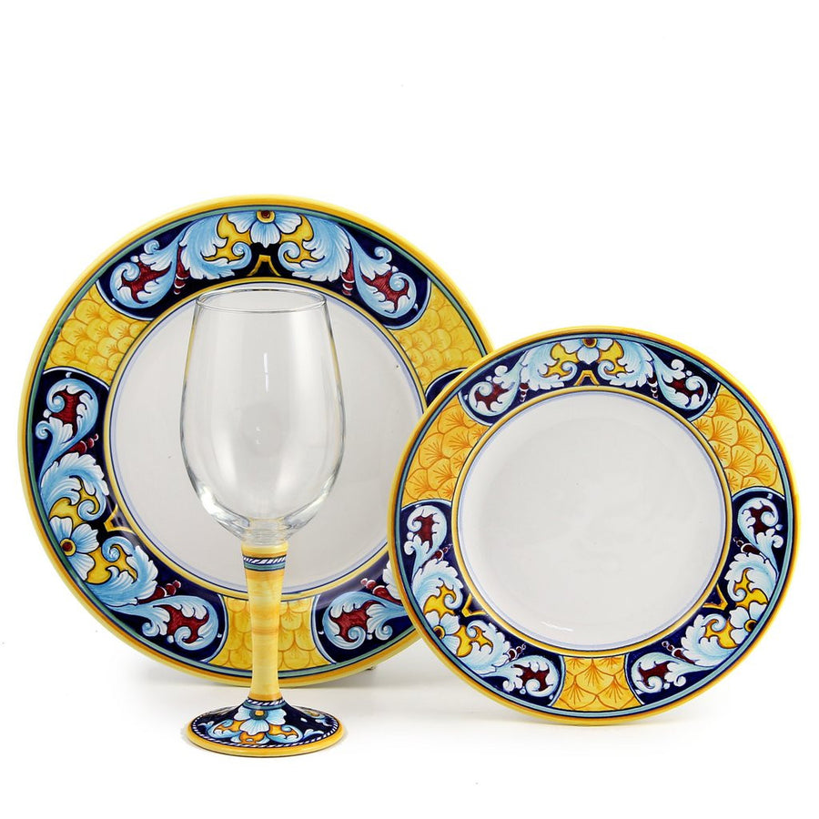 DERUTA STEMWARE PACK: Pinot Glass and Dinner Plate and Salad Plate CELESTE Design