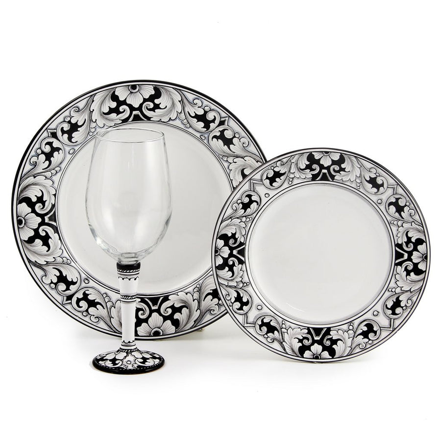 DERUTA STEMWARE PACK: Pinot Glass and Dinner Plate and Salad Plate DERUTA VARIO NERO Design