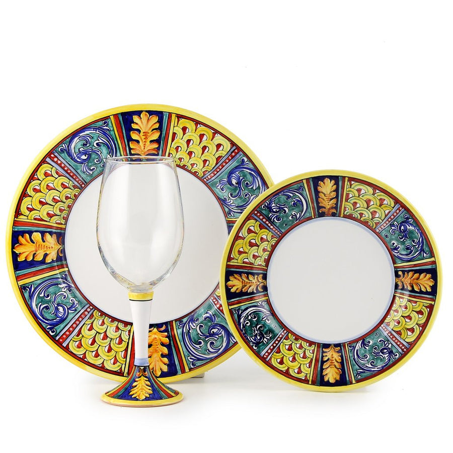 DERUTA STEMWARE PACK: Pinot Glass and Dinner Plate and Salad Plate ELENA Design