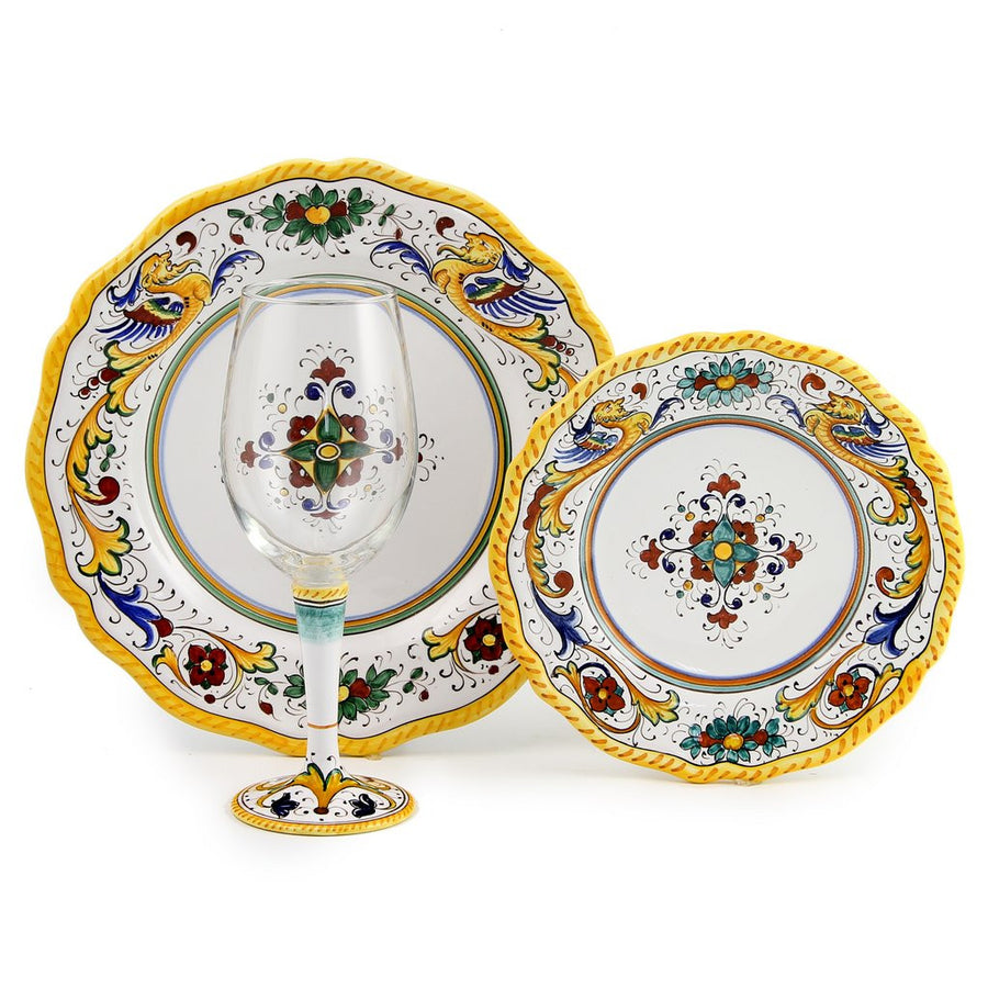 DERUTA STEMWARE PACK: Pinot Glass and Dinner Plate and Salad Plate RAFFAELLESCO Design