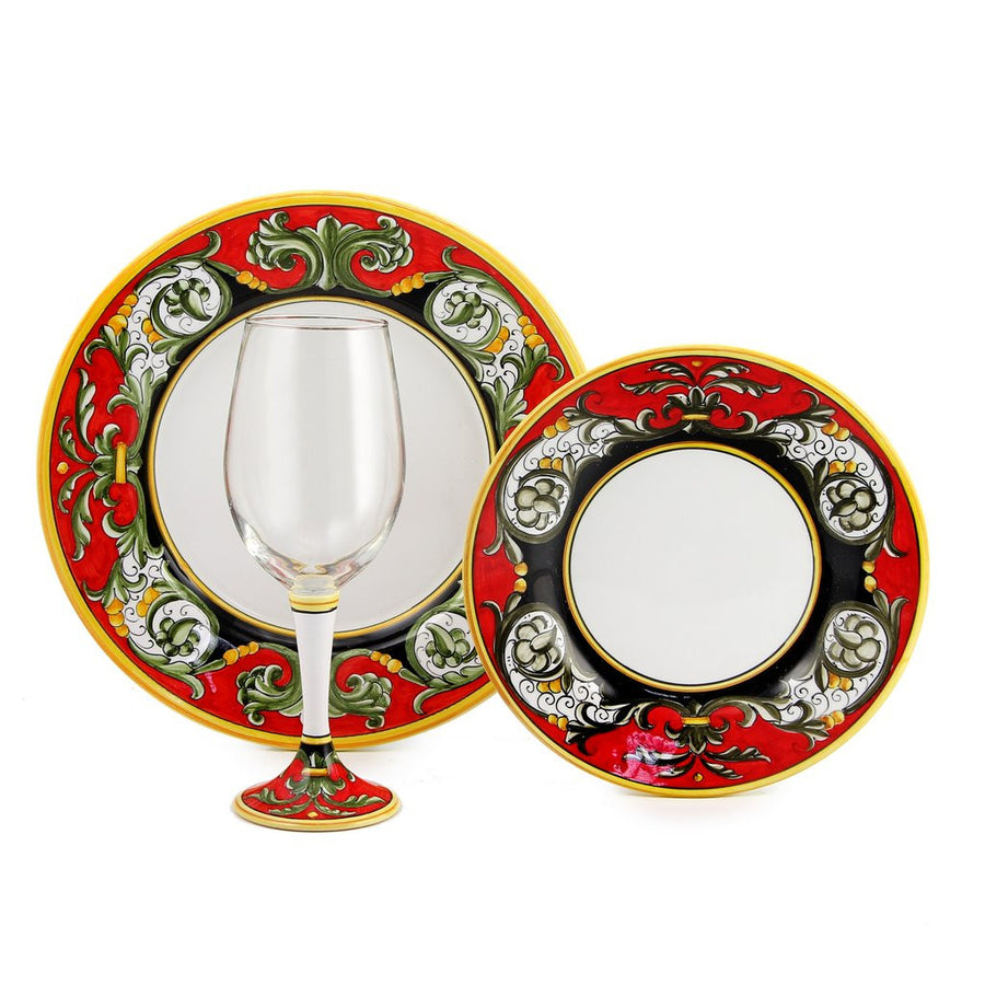 DERUTA STEMWARE PACK: Pinot Glass and Dinner Plate and Salad Plate TIZIANO Design