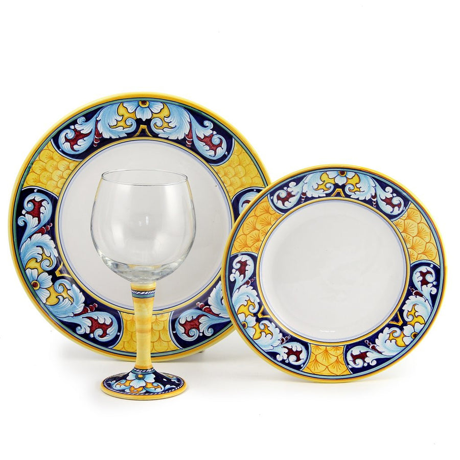 DERUTA STEMWARE PACK: Burgundy Balloon and Dinner Plate and Salad Plate CELESTE Design