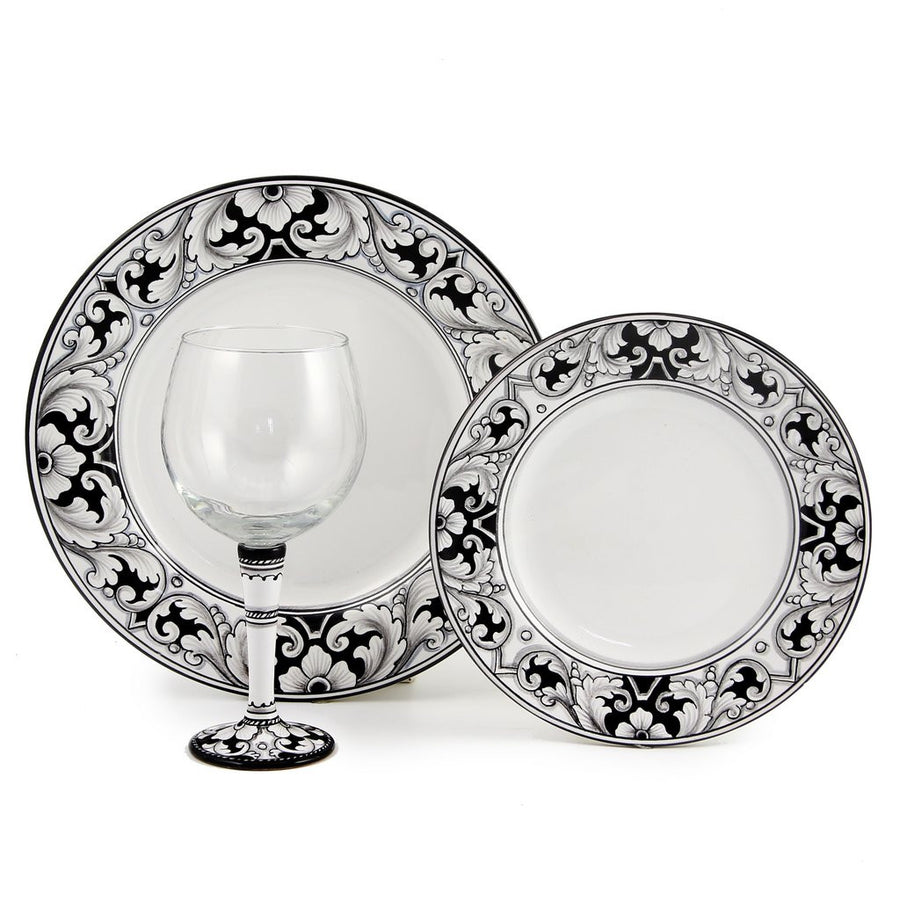 DERUTA STEMWARE PACK: Burgundy Balloon and Dinner Plate and Salad Plate DERUTA VARIO NERO Design
