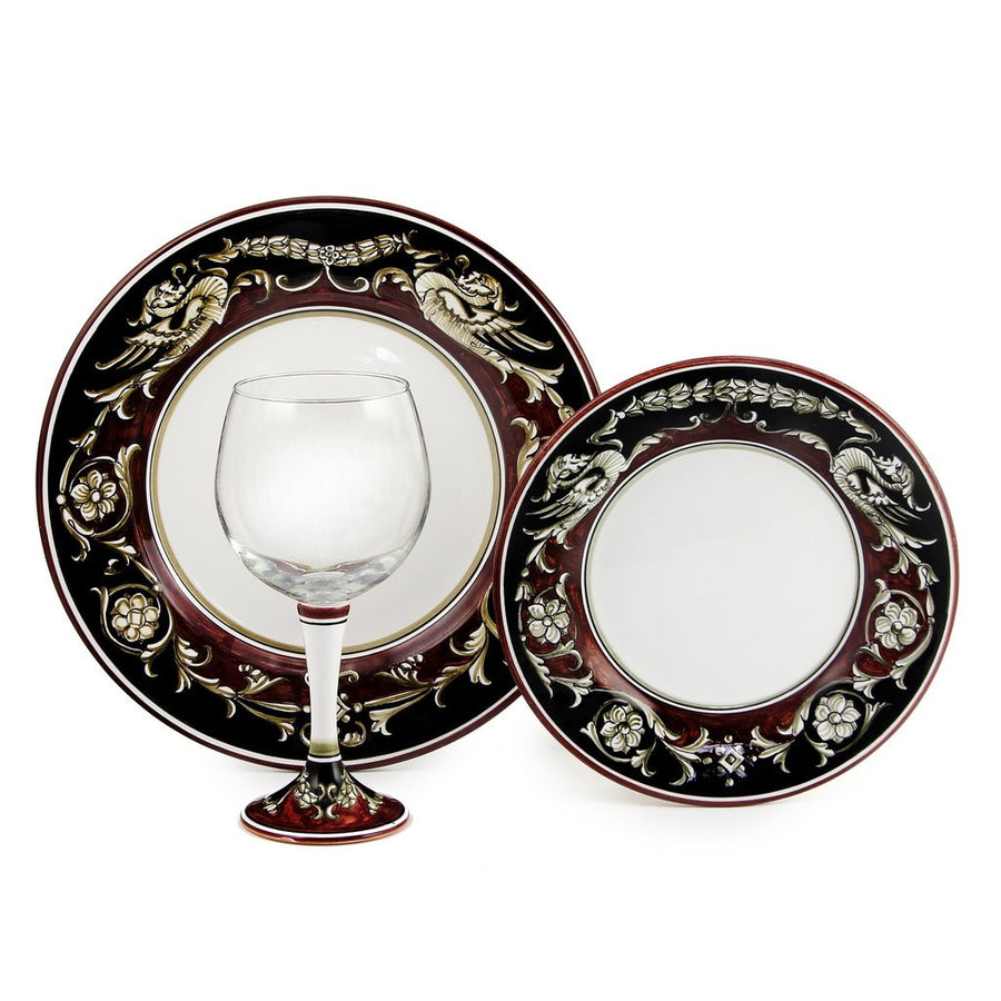 DERUTA STEMWARE PACK: Burgundy Balloon and Dinner Plate and Salad Plate POMPEI Design
