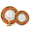 DERUTA STEMWARE PACK: Burgundy Balloon and Dinner Plate and Salad Plate REGAL Design