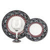 DERUTA STEMWARE PACK: Burgundy Balloon and Dinner Plate and Salad Plate RINASCIMENTO Design