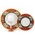 DERUTA STEMWARE PACK: Burgundy Balloon and Dinner Plate and Salad Plate TIZIANO Design