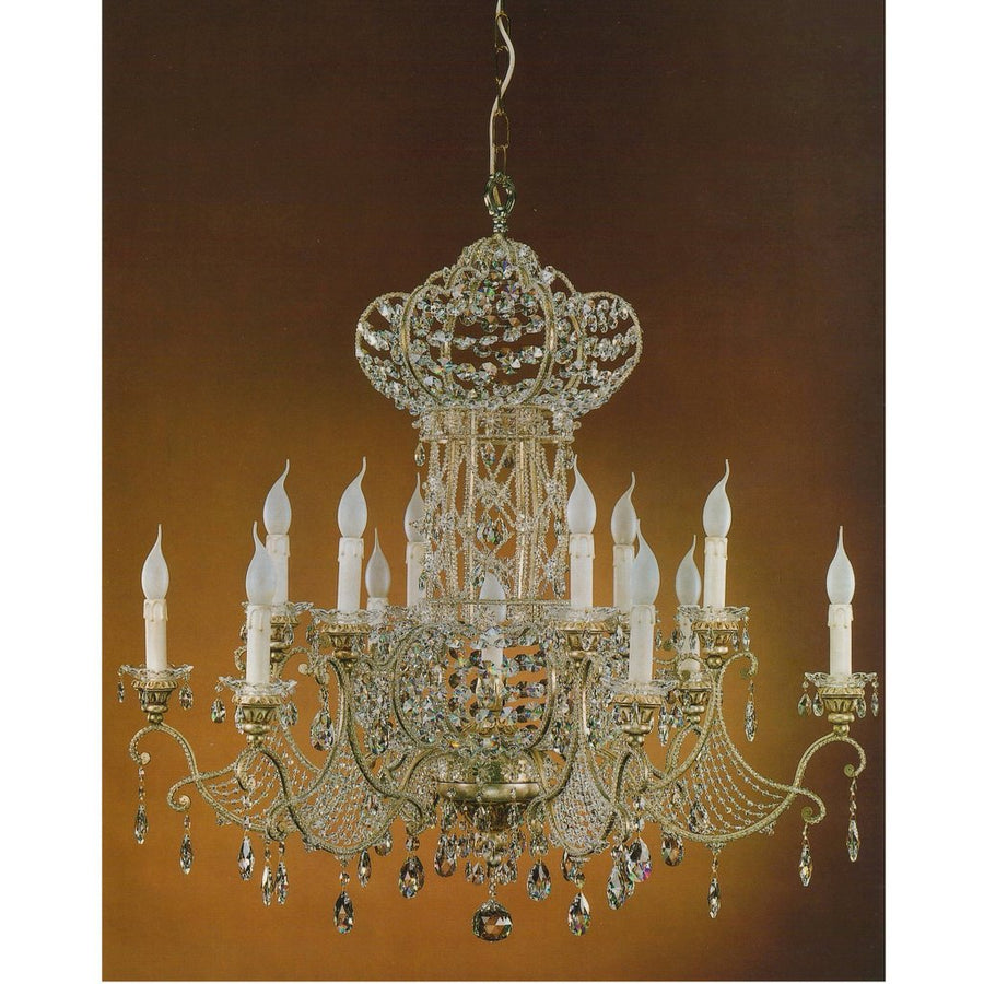 ALBA LAMP: Chandelier: All Swarovski W Iron Silver Leaf