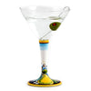 DERUTA STEMWARE: Martini Glass on Hand Painted Ceramic Base LIMONI Design
