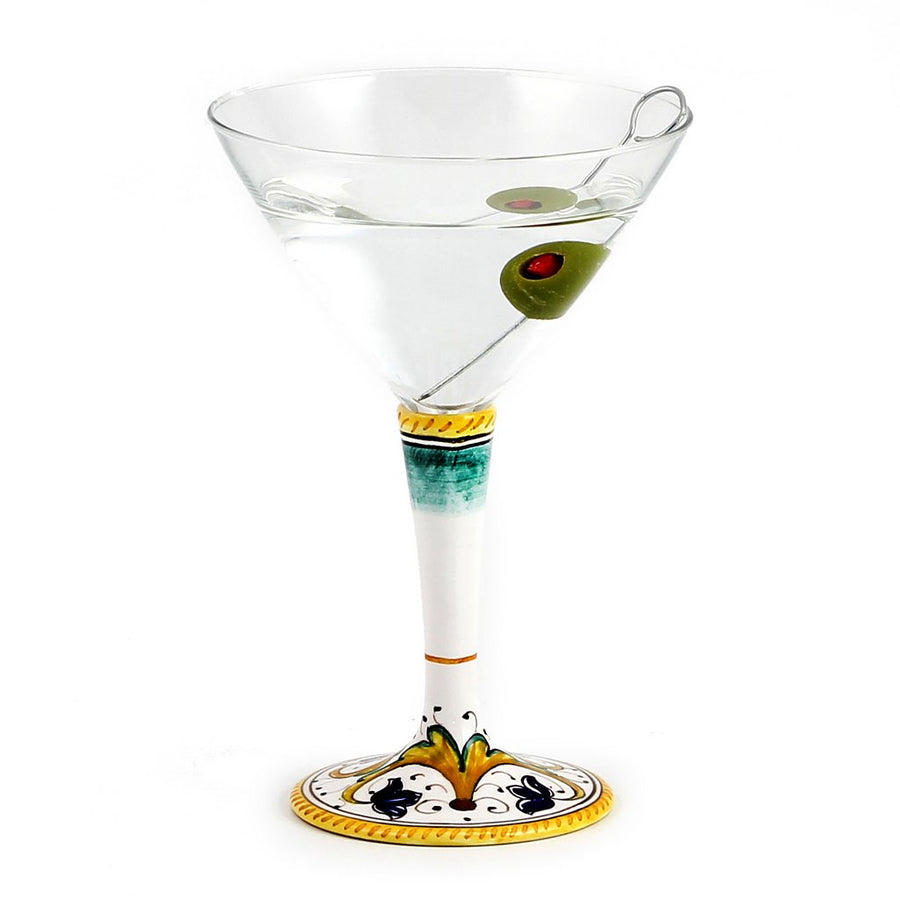 DERUTA STEMWARE: Martini Glass on Hand Painted Ceramic Base PERUGINO Design