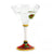 DERUTA STEMWARE: Martini Glass on Hand Painted Ceramic Base TIZIANO Design