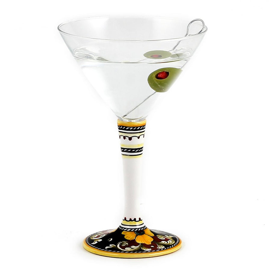 DERUTA STEMWARE: Martini Glass on Hand Painted Ceramic Base VARIO 4 Design