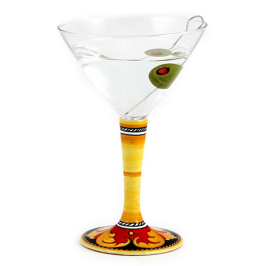 DERUTA STEMWARE: Martini Glass on Hand Painted Ceramic Base VARIO 5 Design