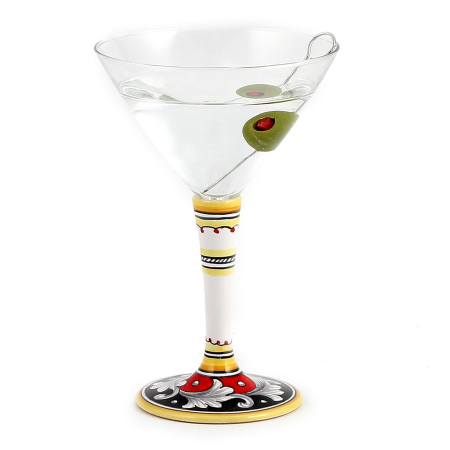 DERUTA STEMWARE: Martini Glass on Hand Painted Ceramic Base VARIO 6 Design