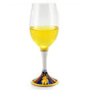 DERUTA STEMWARE: Pinot Glass on Hand Painted Ceramic Base ELENA Design
