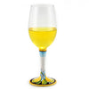 DERUTA STEMWARE: Pinot Glass on Hand Painted Ceramic Base LIMONI Design