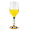 DERUTA STEMWARE: Pinot Glass on Hand Painted Ceramic Base PERUGINO Design