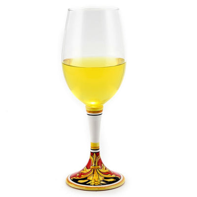 DERUTA STEMWARE: Pinot Glass on Hand Painted Ceramic Base REGAL Design
