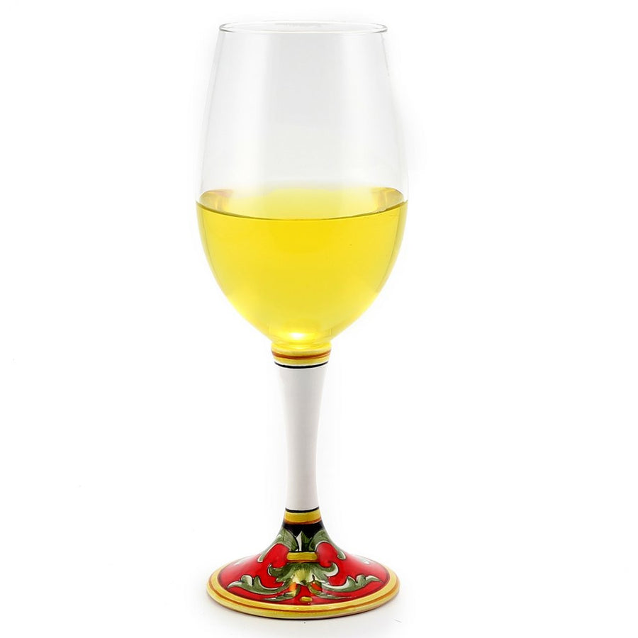 DERUTA STEMWARE: Pinot Glass on Hand Painted Ceramic Base TIZIANO Design