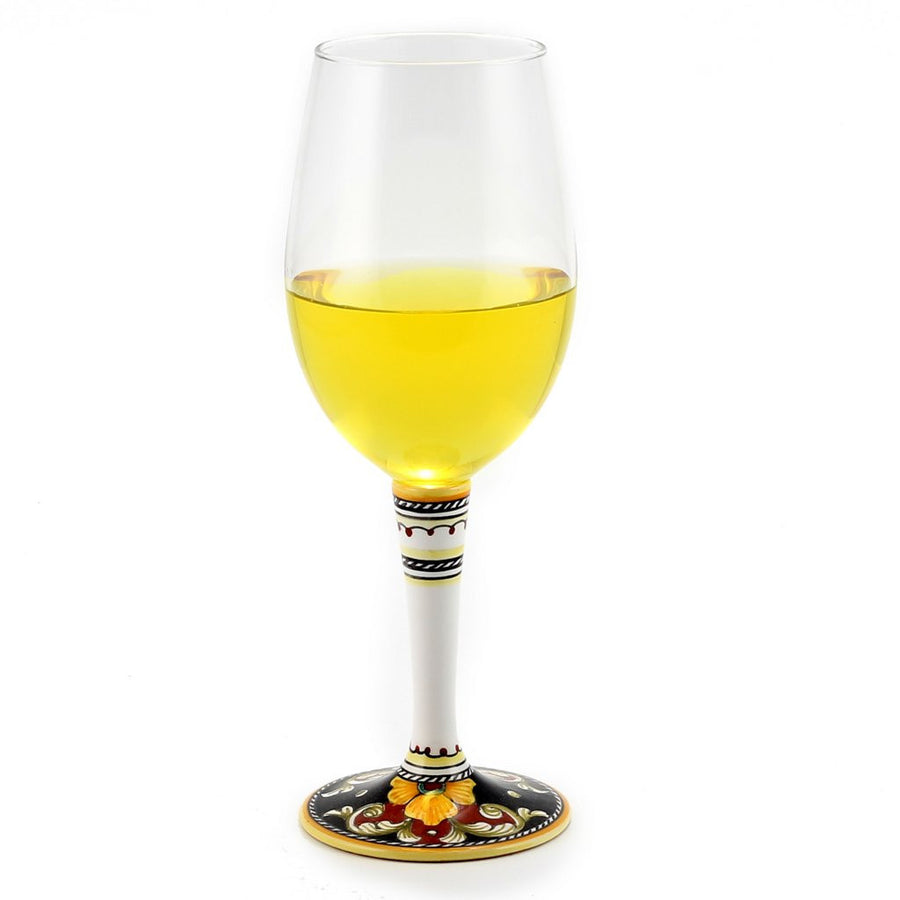 DERUTA STEMWARE: Pinot Glass on Hand Painted Ceramic Base VARIO 4 Design