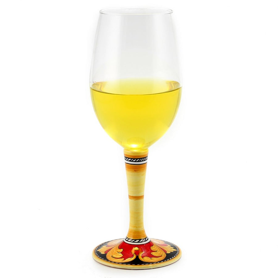 DERUTA STEMWARE: Pinot Glass on Hand Painted Ceramic Base VARIO 5 Design
