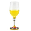 DERUTA STEMWARE: Pinot Glass on Hand Painted Ceramic Base VARIO 6 Design